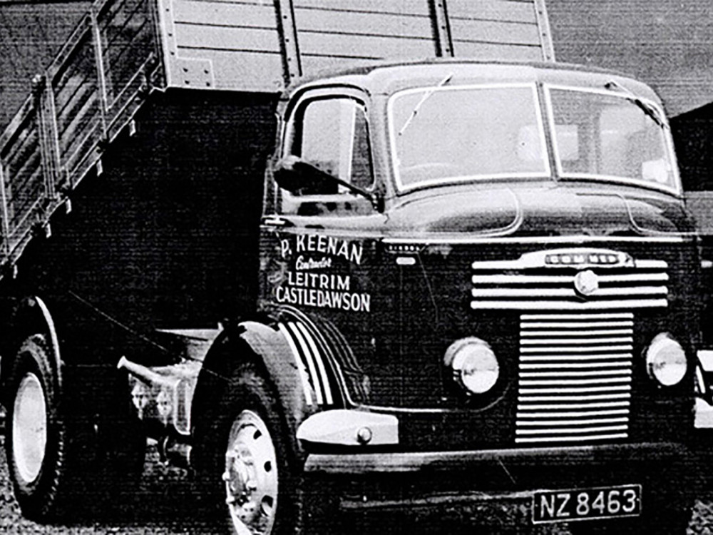 This photo shows a new P.Keenan, Commer Tipping Truck, parked outside the sales showroom in 1956.
